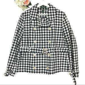 Lauren Ralph Lauren Gingham Trench Coat Size XL